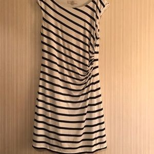Loft Dress Navy White Side Ruched Lined Size L